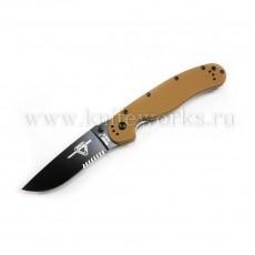 Ontario RAT Folder Model 1 коричневая рукоять, полусеррейторный, чёрный клинок